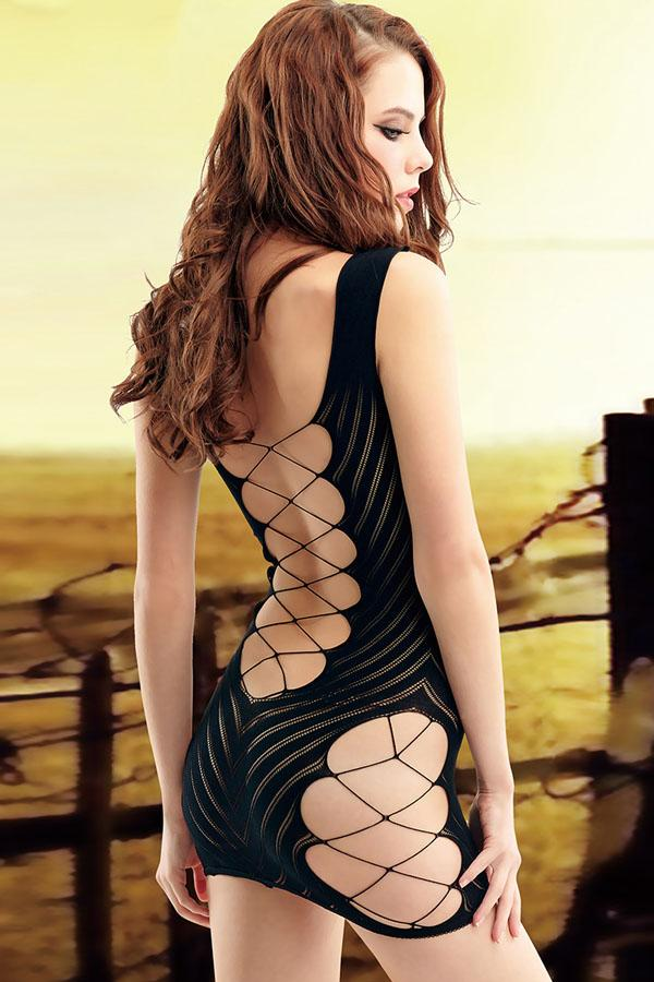 Black Sexy Midnight Interlace Fishnet Chemise