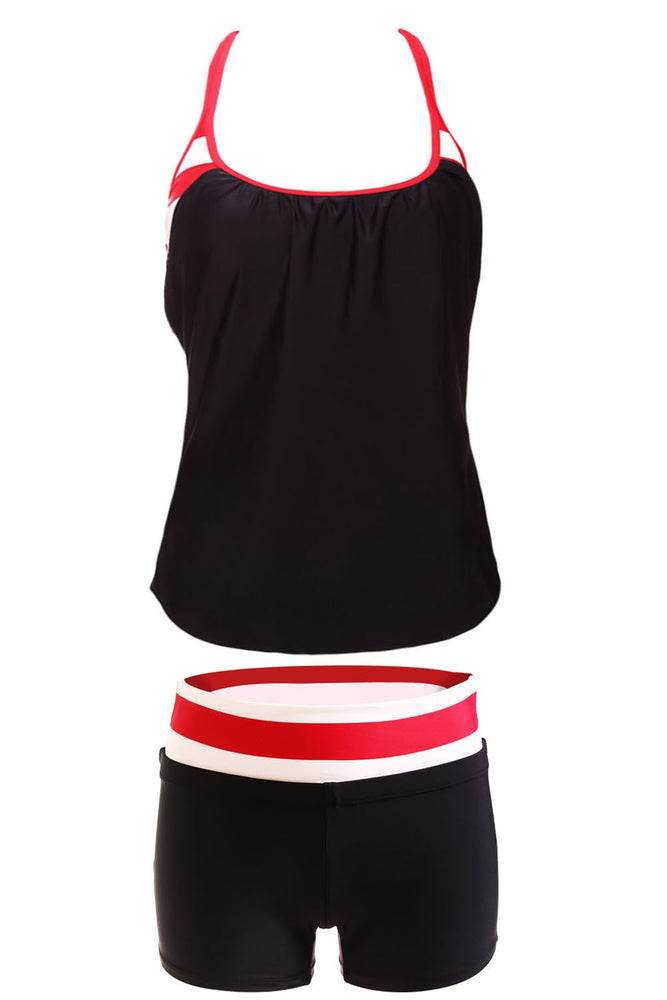 Black White Red Striped Flow Double Up Tankini Swimsuit With Shorts - MorphU LLC