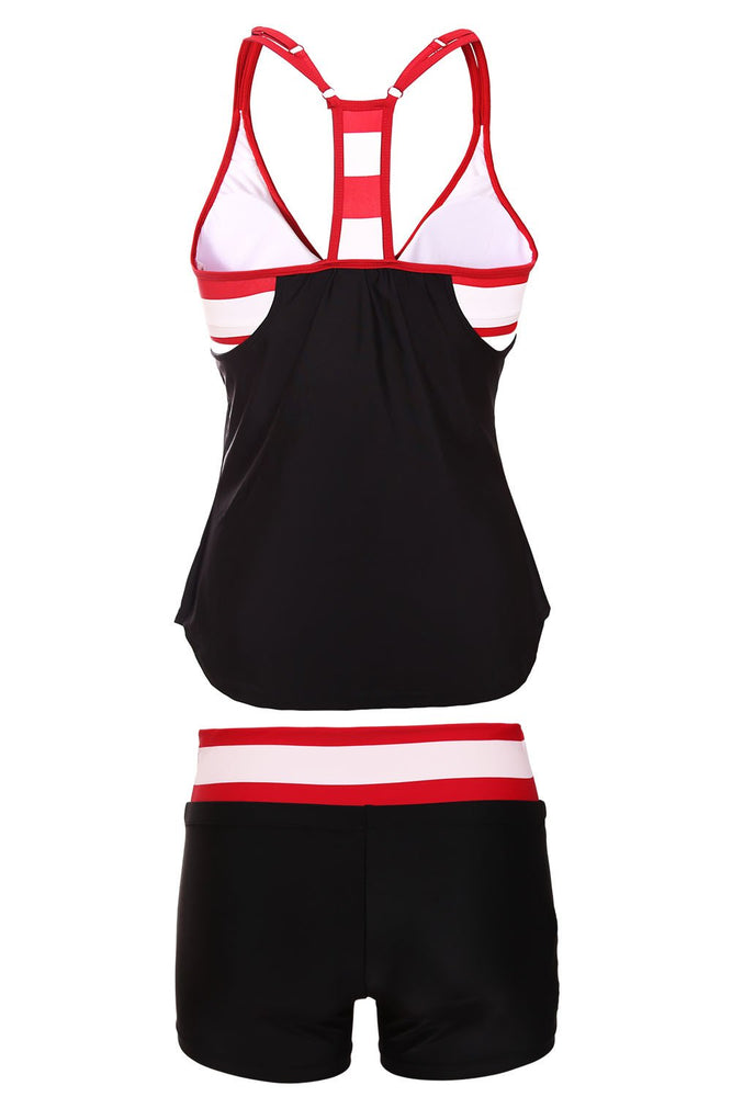 Load image into Gallery viewer, Black White Red Striped Flow Double Up Tankini Swimsuit With Shorts - MorphU LLC