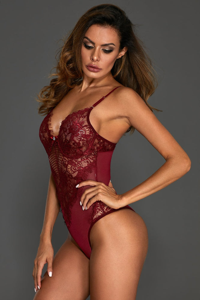 Burgundy Sheer Mesh Lace Cupped Teddy Lingerie
