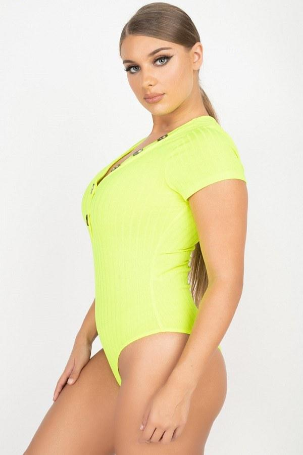 Front Button Detailed Solid Women's Bodysuit - MorphU LLC