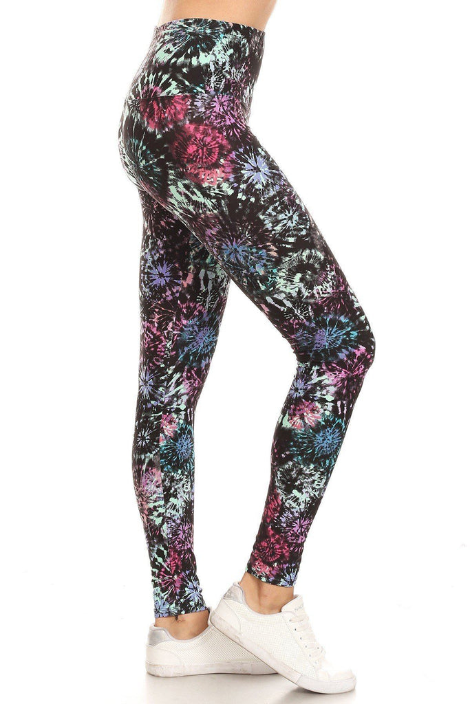 Load image into Gallery viewer, 5-inch Yoga Style Tie Dye Printed Knit Legging - MorphU LLC