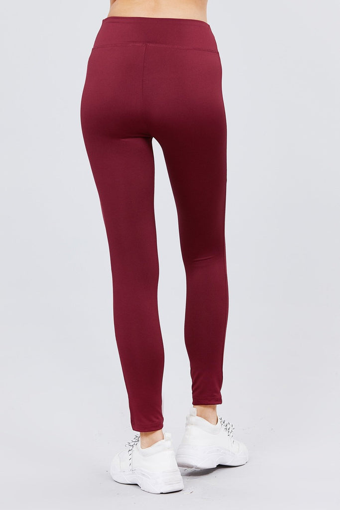 Load image into Gallery viewer, Burgundy Workout Full Length Leggings