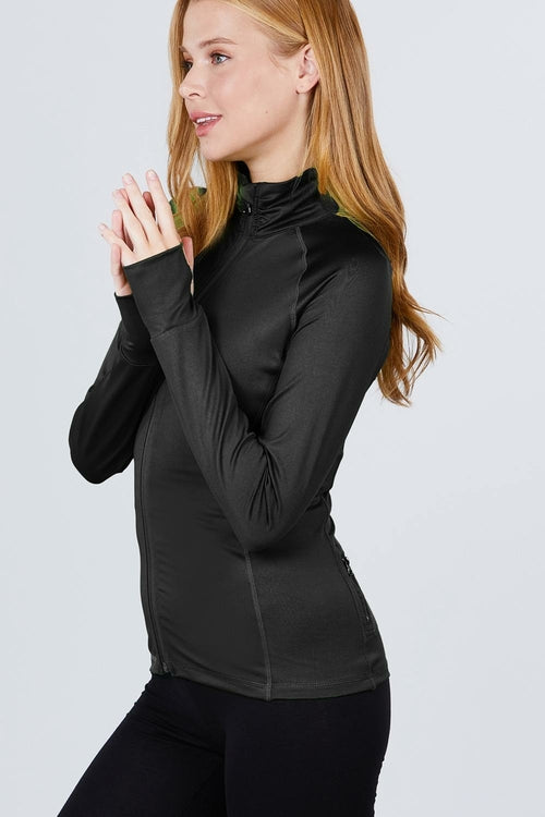 Women's Solid Workout Track Jacket - MorphU LLC