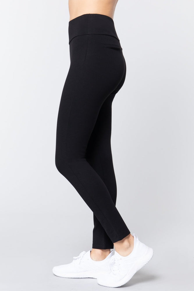 Load image into Gallery viewer, Black Wide Waist Band Long Ponte Pants - MorphU LLC