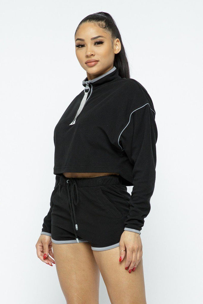 Load image into Gallery viewer, Sporty Crop Top Elastic High-waist Shorts Set - MorphU LLC