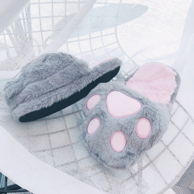 Cute Slippers Women Bear Paw Warm Autumn Winter