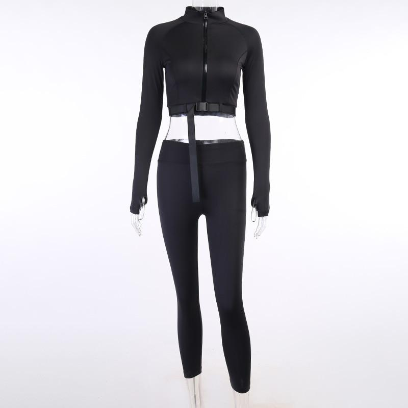 Load image into Gallery viewer, Fall Zipper Buckle Skinny Long Sleeve Stand Collar Top Biker Pants - MorphU LLC