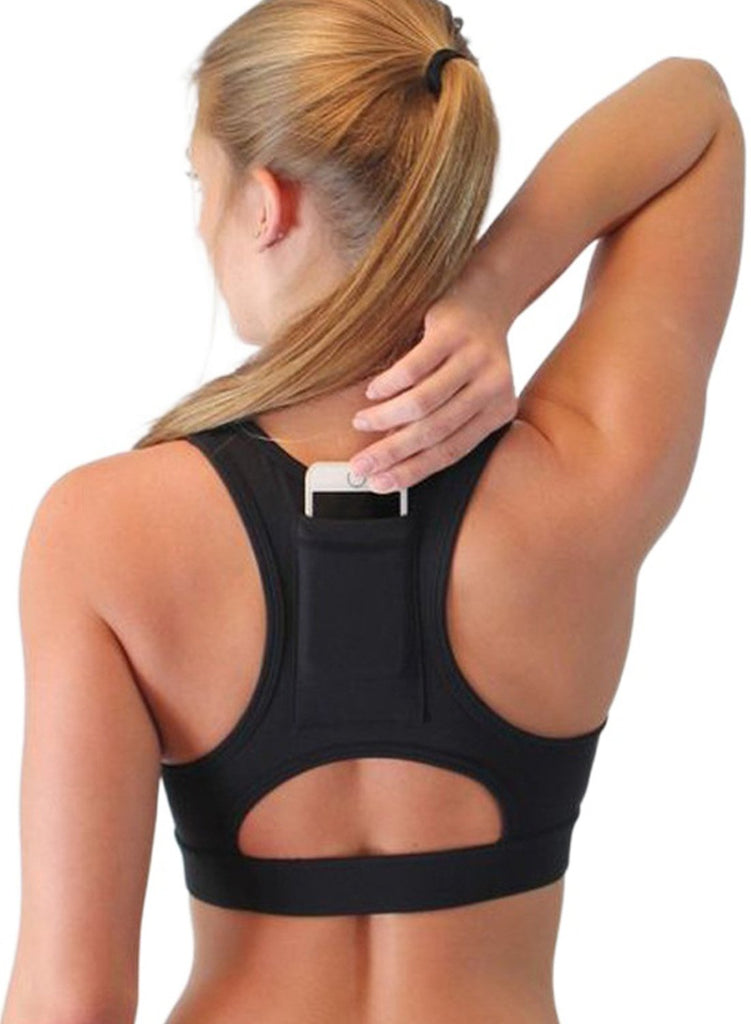 Load image into Gallery viewer, Fashion Black Back Pocket Sport Bra