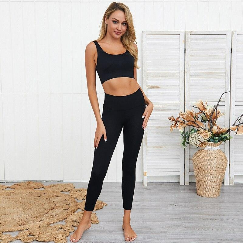 Women Cropped Top Sport Seamless Leggings - MorphU LLC