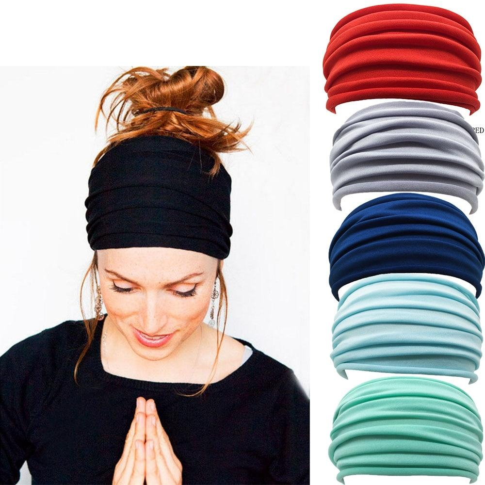 Load image into Gallery viewer, Nonslip Elastic Folds Yoga Hairband Wide Sports Headband - MorphU LLC