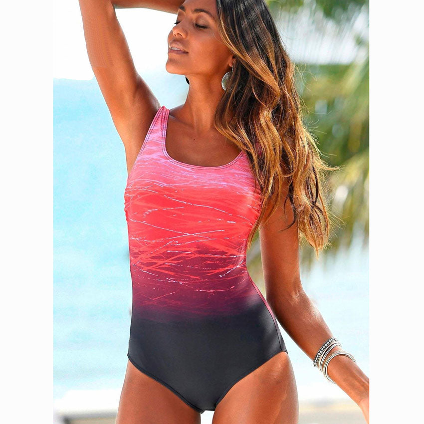 Vintage Gladiator Color Cross Backless Swimsuit