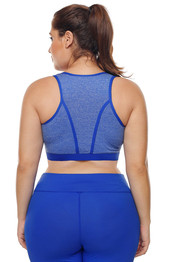 Heathered Royal Blue Piping Trim Racerback Plus Workout Bra - MorphU LLC