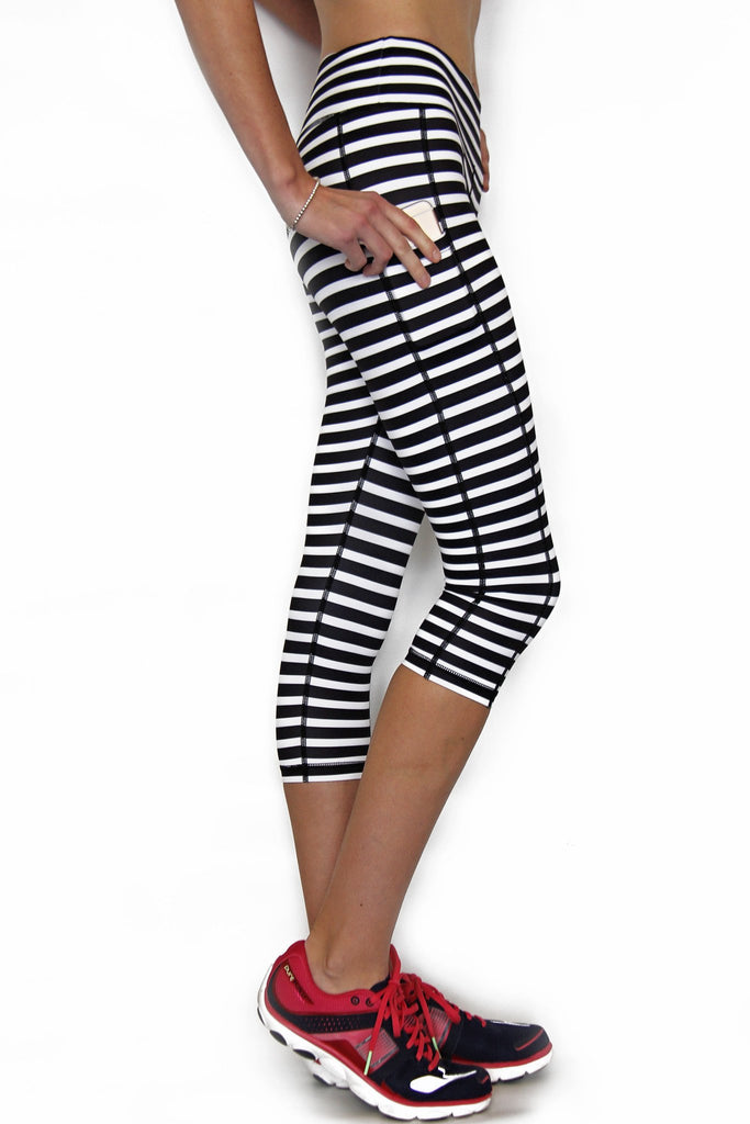 Black and White Stripe - Pocket Capri - MorphU LLC