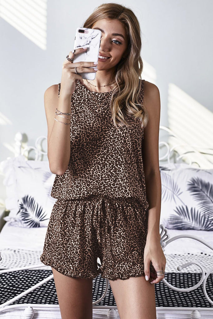 Leopard Swingy Tank and Ruffled Shorts Loungewear - MorphU LLC
