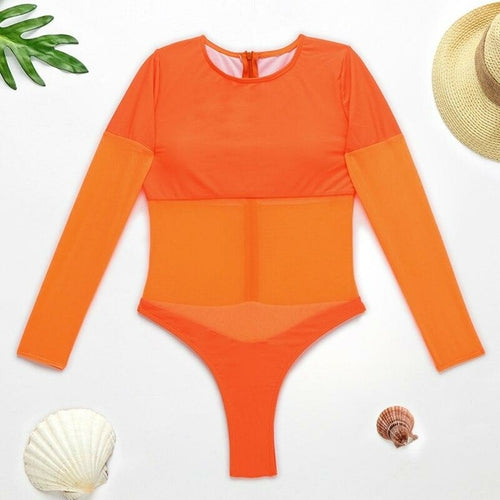 Long Sleeve Mesh Bodysuit One-piece Suit Transparent Monokini - MorphU LLC