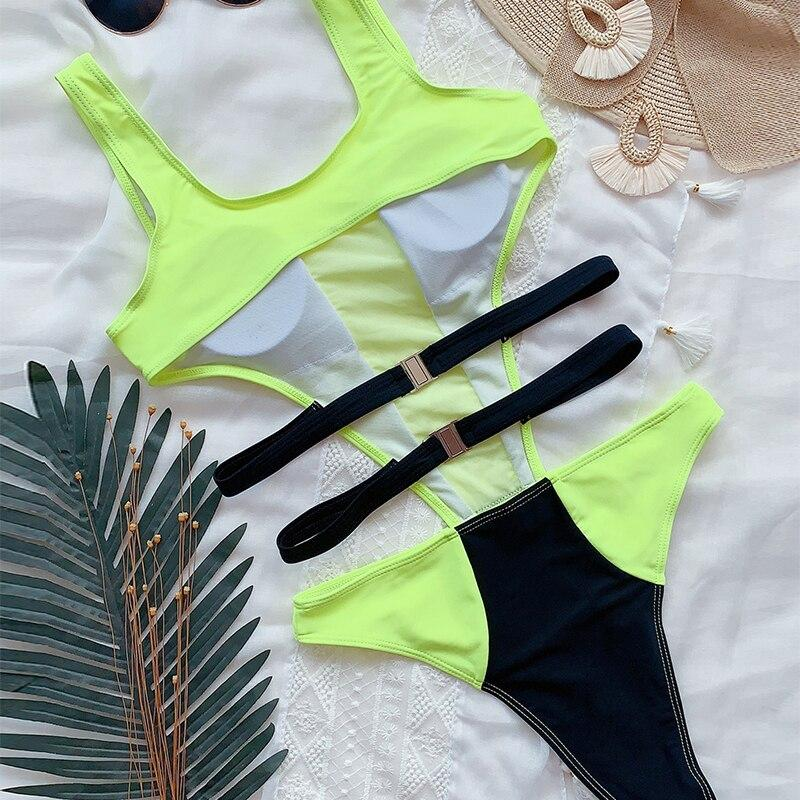 Load image into Gallery viewer, Neon green sexy one piece swimsuit women Mesh transparent monokini - MorphU LLC