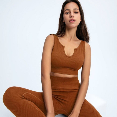 Seamless Yoga Suit Sports Bra Top Gym Leggings Pants Running Tights - MorphU LLC