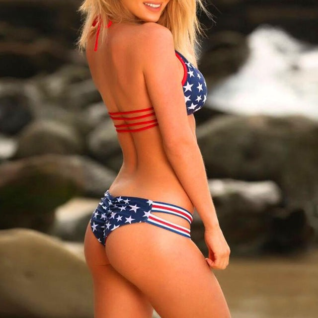 Load image into Gallery viewer, New Style Women American Flag Bandage Bikini Set - MorphU LLC