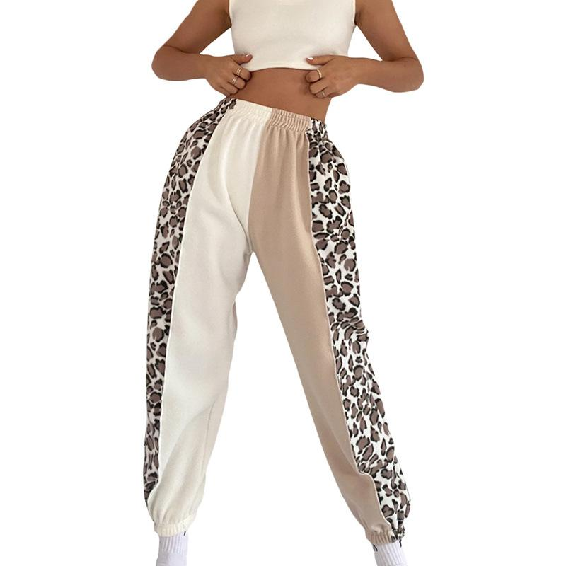Patchwork Leoparf Printed Women Sports Pants
