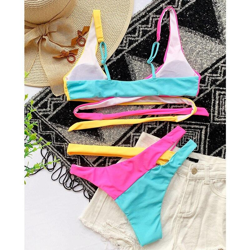 Patchwork Push Up Bandage Hollow Out Swimsuit
