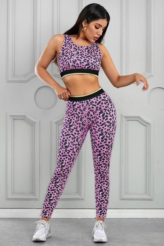 Load image into Gallery viewer, Pink Leopard Print Active Bra Yoga Pants Set - MorphU LLC