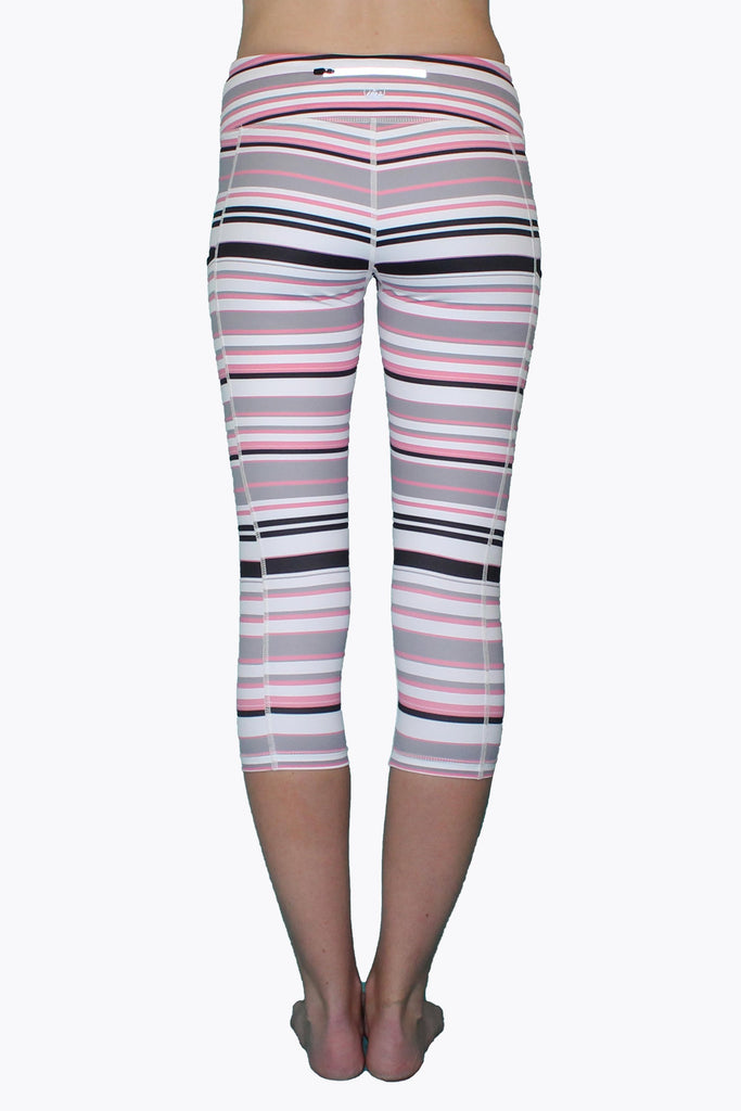 Pink Gray & Black Stripe - Pocket Capri - MorphU LLC