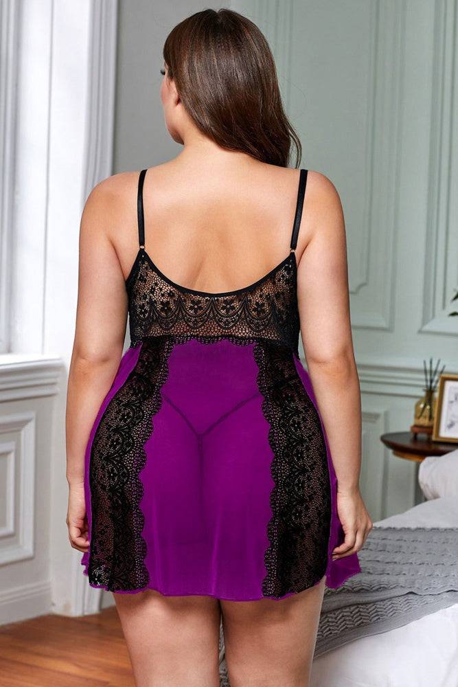 Purple Black Color Block Hollow-out Lace Gauze Patchwork Plus Size - MorphU LLC