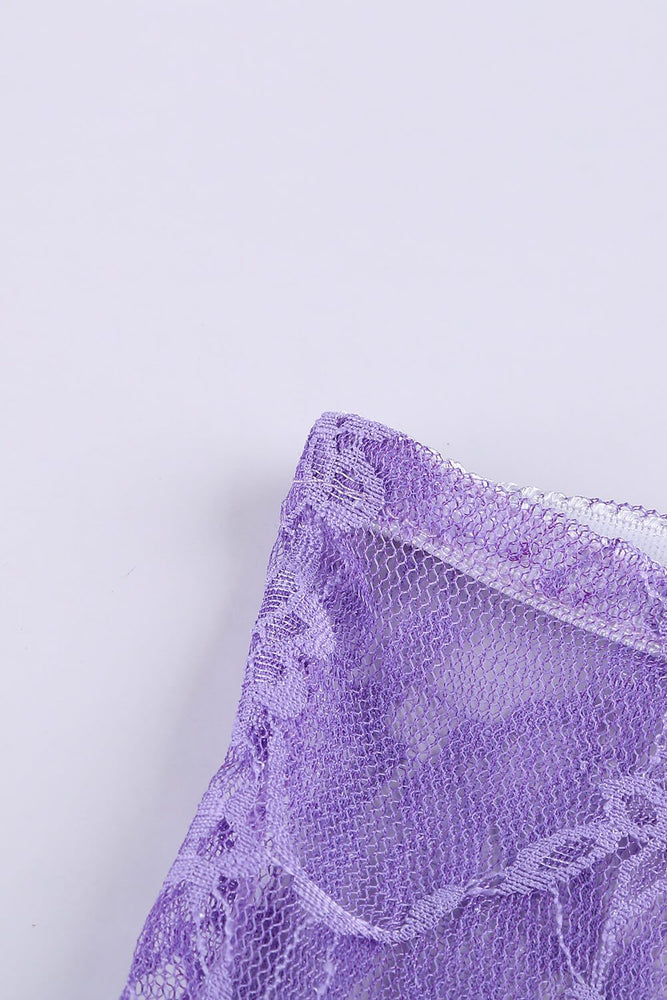 Purple Lace Mesh Tube See Through Strapless Lingerie Set - MorphU LLC