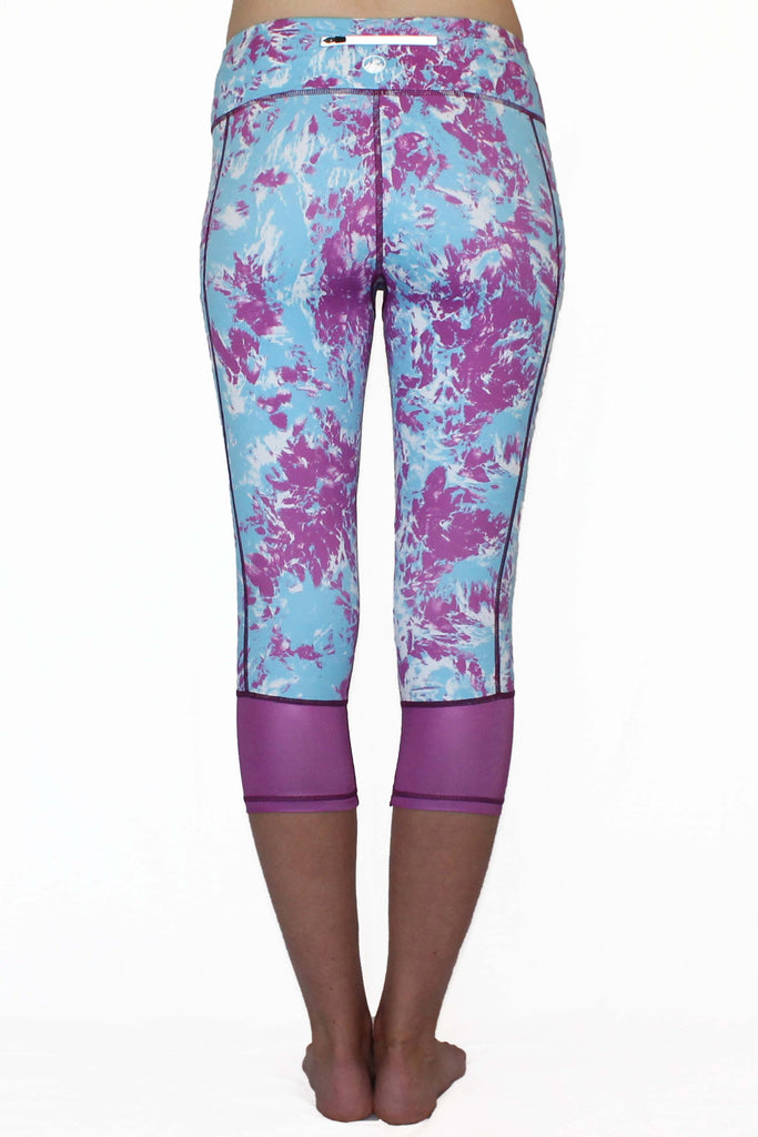 Purple and Blue Marble Moto - Pocket Capri - CLEARANCE