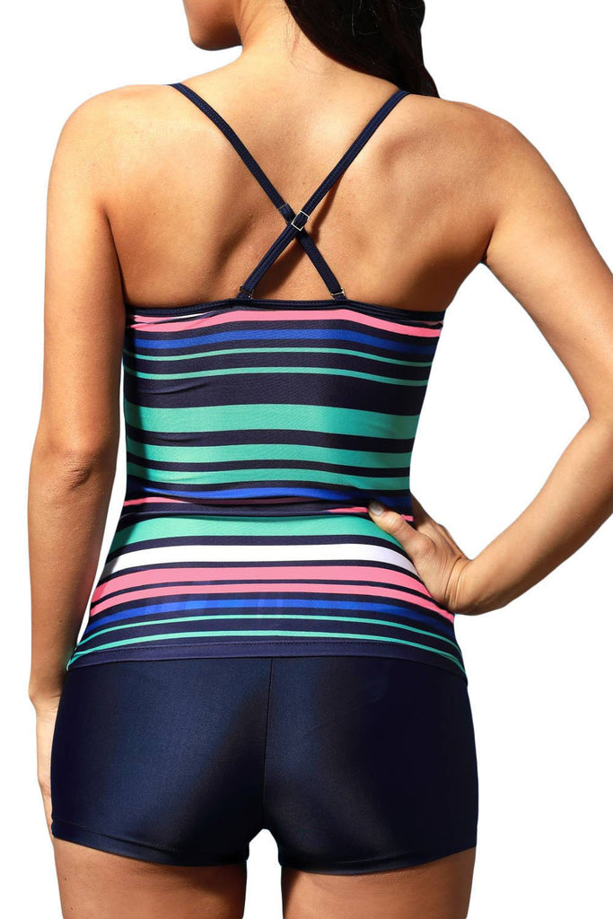 Load image into Gallery viewer, Rainbow Stripes Sprot Tankini Swimwear
