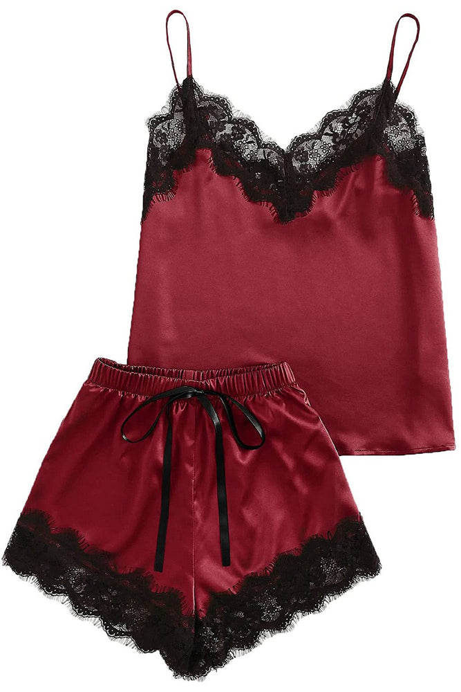 Load image into Gallery viewer, Red Lace Satin Cami Top and Shorts Pajamas Set Sleepwear - MorphU LLC