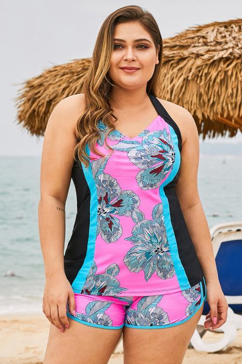 Rose Floral Block 2 Piece Plus Size Swimwear - MorphU LLC