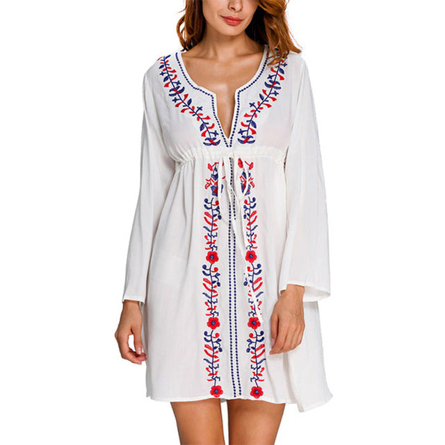 Load image into Gallery viewer, Sexy Cover ups Embroidery Beach Tunic V-neck - MorphU LLC
