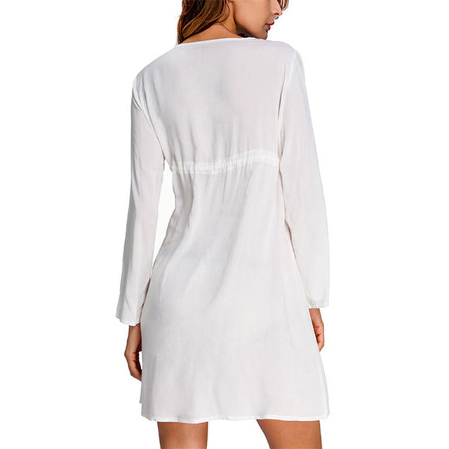 Sexy Cover ups Embroidery Beach Tunic V-neck - MorphU LLC