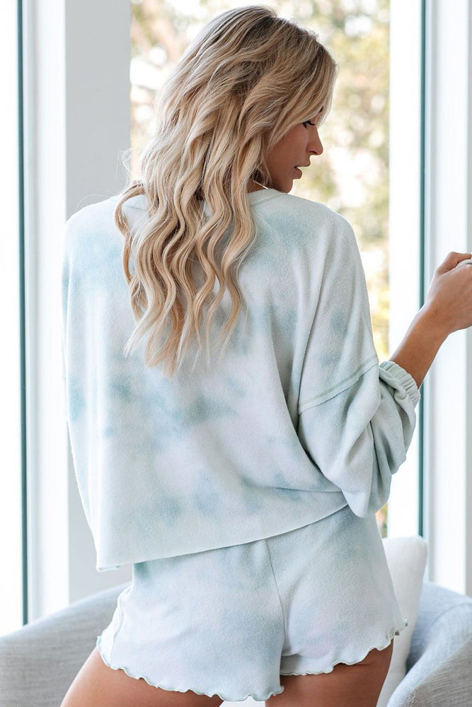 Sky Blue Tie Dye Knit Long Sleeve and Short Pajamas Set - MorphU LLC