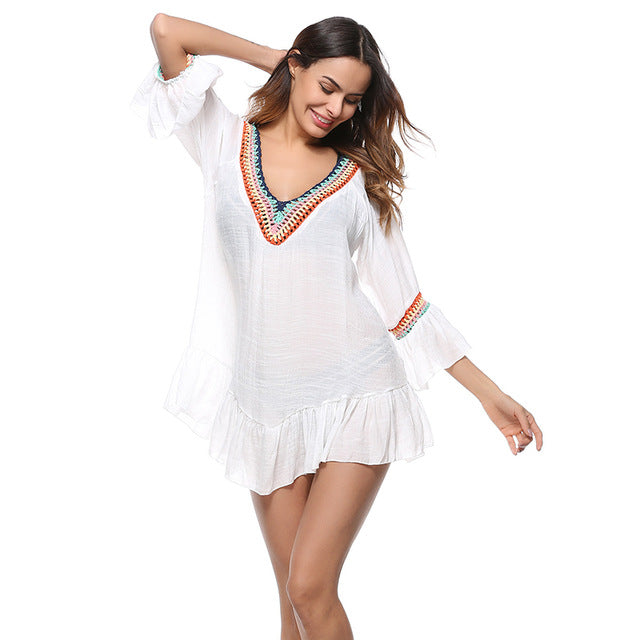 Load image into Gallery viewer, White Beach Cover-up Swim Dress Tunic Swimsuit - MorphU LLC