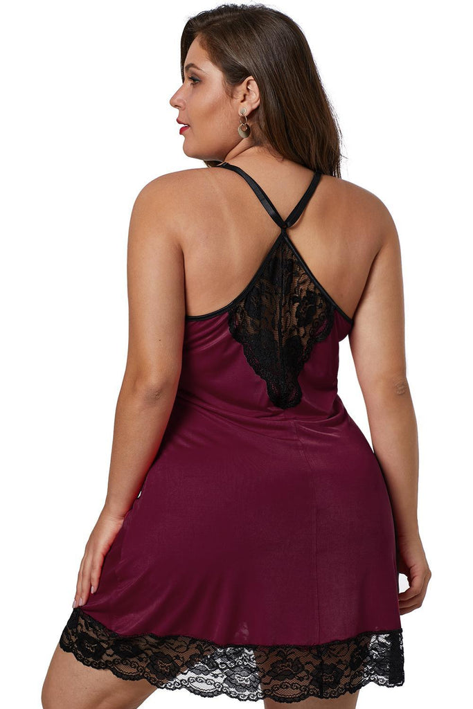 Wine Red Venecia Plus Size Chemise with Lace Trim - MorphU LLC