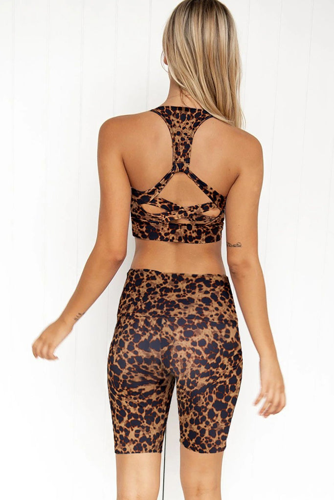 Brown Animal Print Cobra Yoga Activewear Fitness Shorts Set - MorphU LLC
