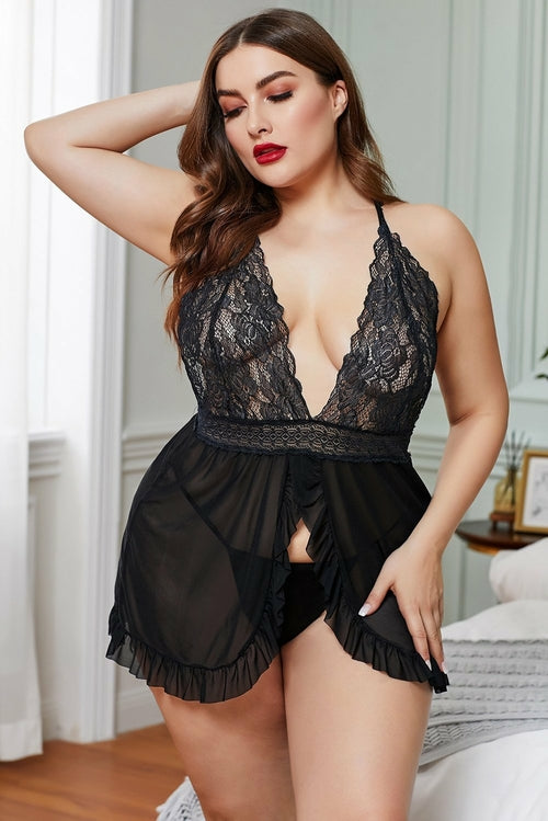 Black Lace Stitching Mesh Ruffle V-neck Plus Size Lingerie - MorphU LLC