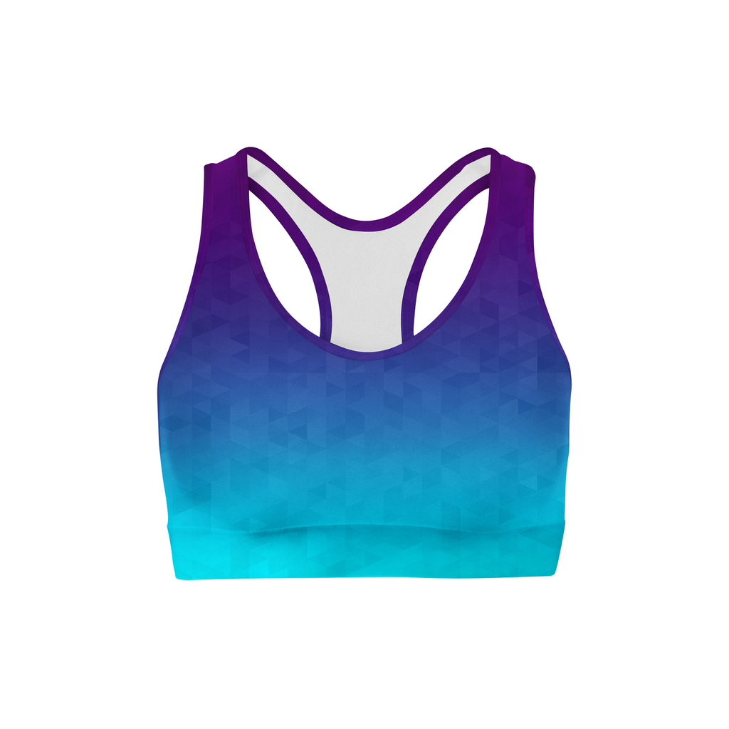 Load image into Gallery viewer, Deep Sea Triangles Sports Bra