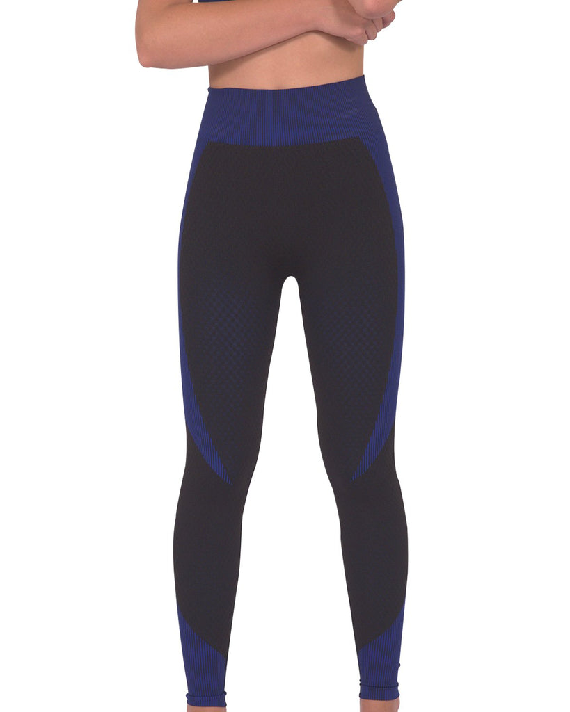 Load image into Gallery viewer, Trois Seamless Legging - Black with Navy - MorphU LLC