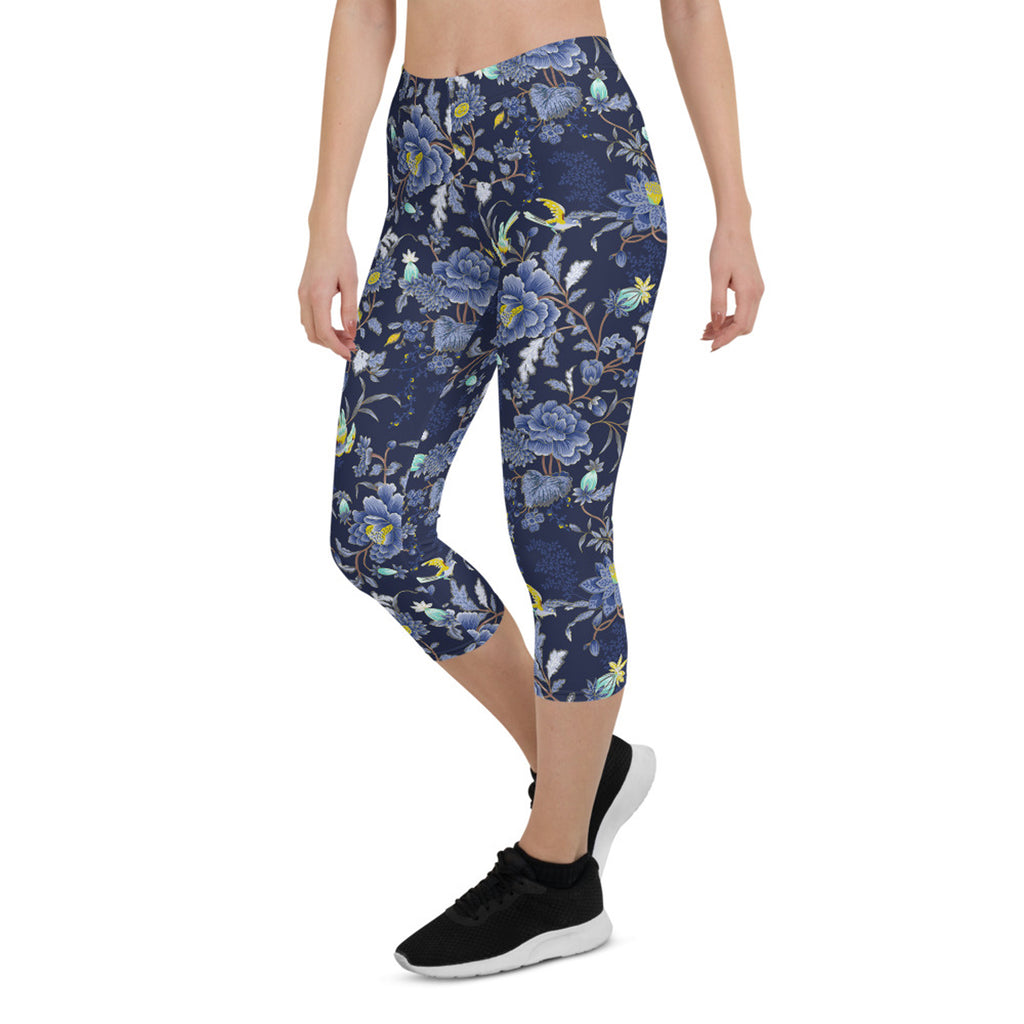 Load image into Gallery viewer, Oriental Floral Capri Leggings on Navy Blue