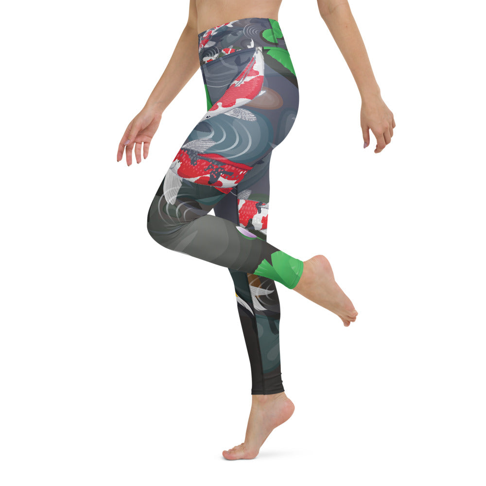 Raw Nature High Waist Koi Pond Leggings - MorphU LLC