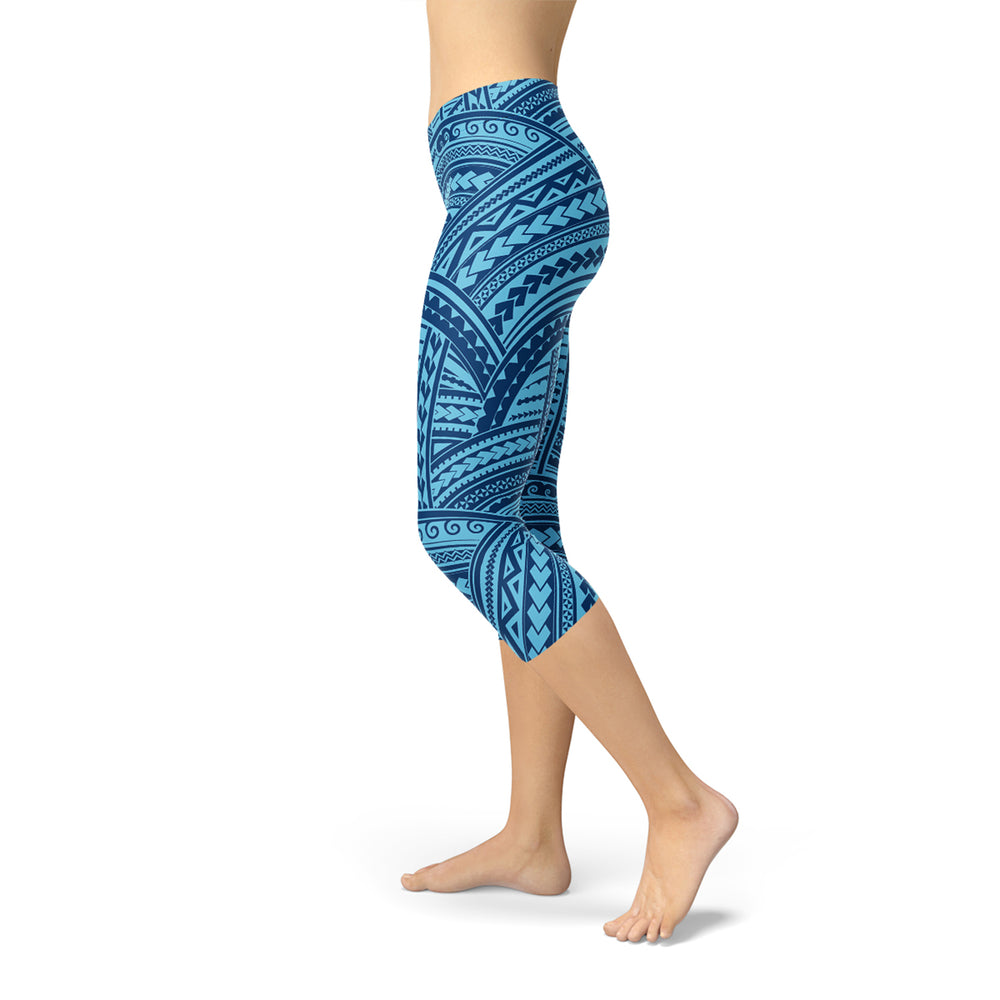 Load image into Gallery viewer, Blue Maori Capri Leggings