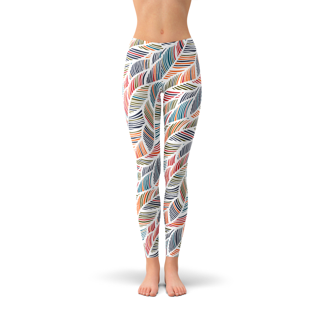 Womens Colorful Feather Fern Leggings