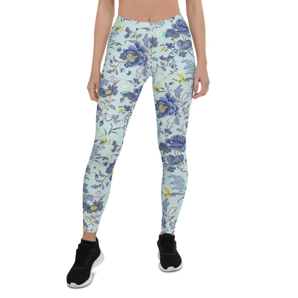Load image into Gallery viewer, Oriental Floral Leggings on Light Blue Background