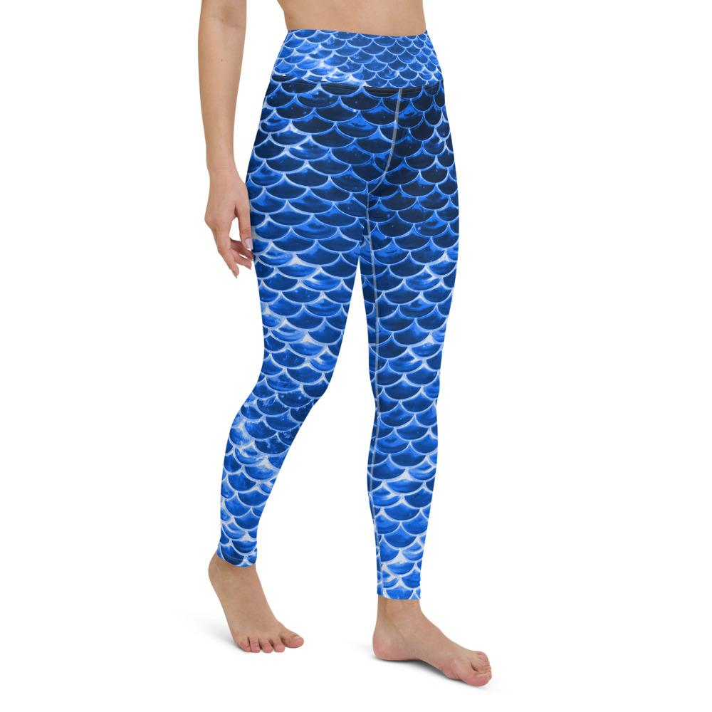 Blue mermaid scale leggings, Capris and Shorts - MorphU LLC