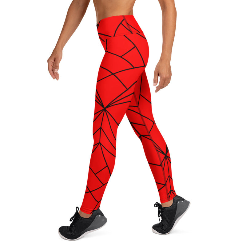 Load image into Gallery viewer, Lavinia Red High Waist Red Geometry Leggings - MorphU LLC
