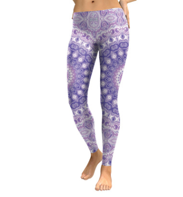 Light Purple and White Mandala Flower Yoga/Workout Leggings - MorphU LLC